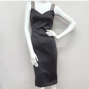 Ted Baker Rhinestone Embelished Strap Black Dress